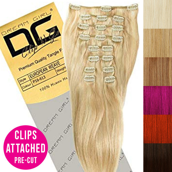 Dream Girl 100% Human Hair Clip On Extensions