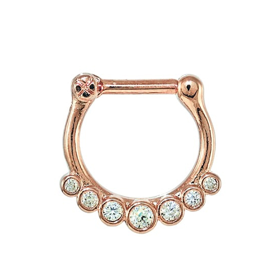 Septum Clicker - Sparkly Gem PVD Rose Gold