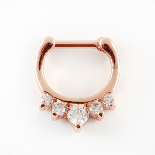 Septum Clicker - Rose Gold Jewelled