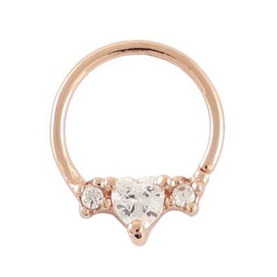 Twist Ring - PVD Rose Gold Gem Set Heart