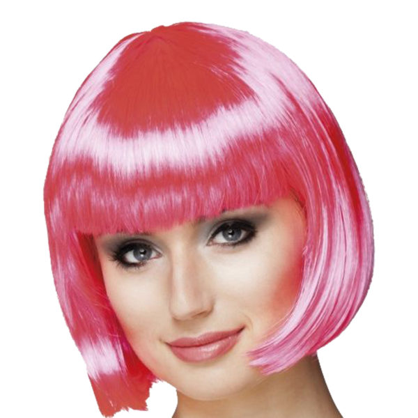 Pink Fancy Dress Wig - Short Bob With Fringe