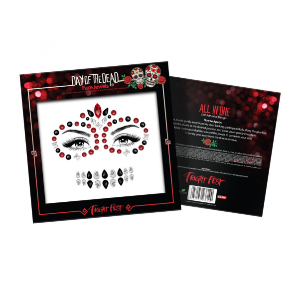 Paint Glow Halloween Face Jewels - Day Of The Dead