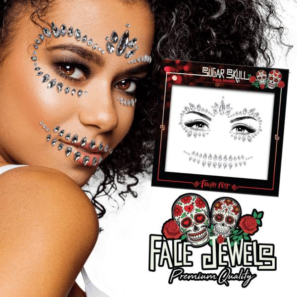 Paint Glow Halloween Face Jewels - Sugar Skull